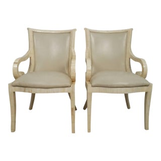 Vintage Pair of Enrique Garcel Tessellated Armchairs For Sale