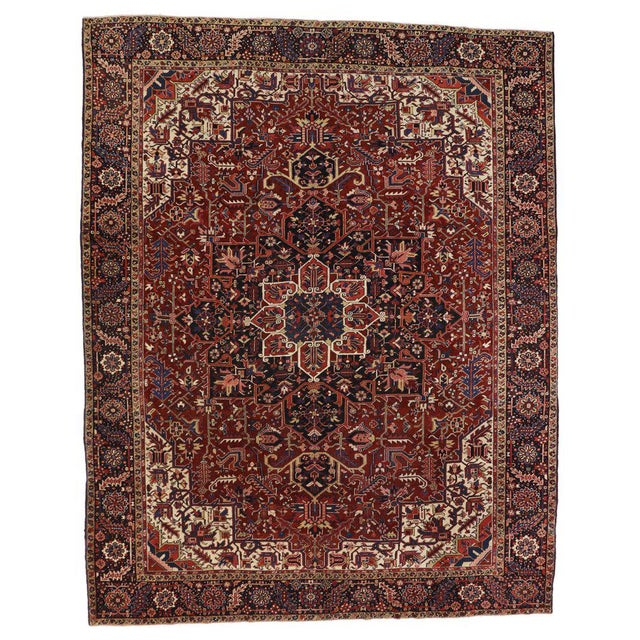 White Antique Persian Heriz Rug with Modern Traditional Style For Sale - Image 8 of 10