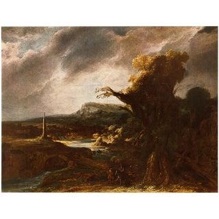 1950s Rembrandt, Landscape With an Obelisk Vintage Lithograph For Sale
