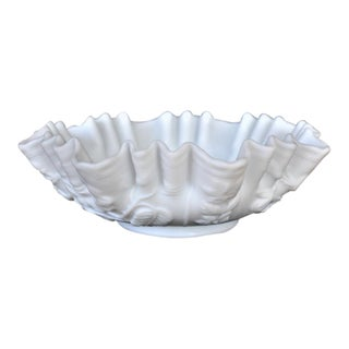 Vintage White Ruffled Glass Floral Bowl For Sale