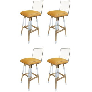 Set of Four Charles Hollis Jones Barstools From the Metric Collection, Signed For Sale