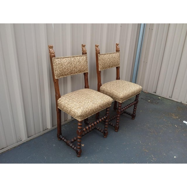 1900 - 1909 Antique Fortuny Fabric Hall Chairs - a Pair For Sale - Image 5 of 11