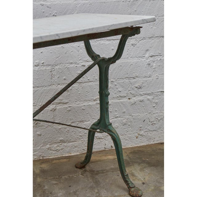 Late 19th Century French Cast Iron Cafe Table With Marble Top For Sale - Image 5 of 8