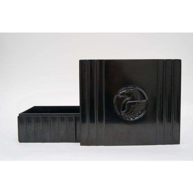 Early 20th Century 1920s Dunhill American Art Deco Black Bakelite Storage Box with Pegasus Motif For Sale - Image 5 of 9