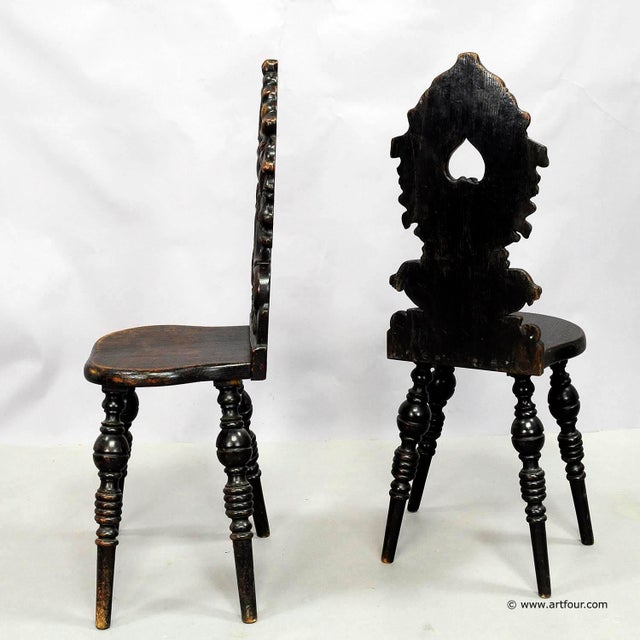 Late 19th Century A Pair Renaissance Style Carved Chairs Ca. 1890 For Sale - Image 5 of 7