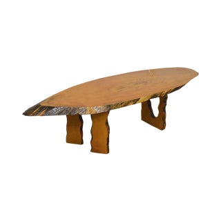 Live Edge Free Form Slab Wood Rustic Studio Crafted Coffee Table For Sale