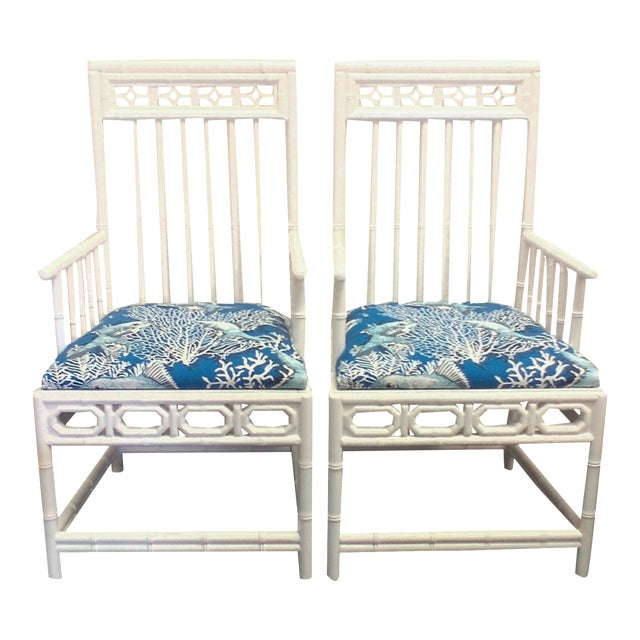 Chinese Chippendale Nautical White Chairs - A Pair For Sale