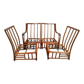 Mid-Century Bamboo Rattan Sofa & Chair Set For Sale