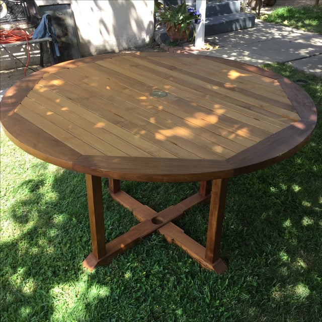 Outdoor Round Teak Table - Image 4 of 4