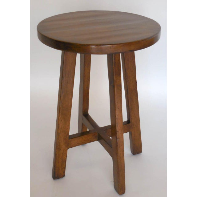 Custom Round Walnut Wood Side or End Table For Sale In Los Angeles - Image 6 of 6