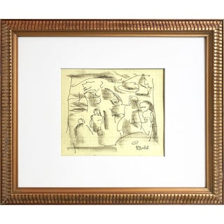 Harold C. Davies Figural Abstract Drawing For Sale