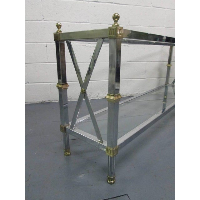 French Chrome and Brass Console Table For Sale - Image 3 of 5