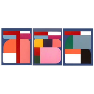 Original Color Blocked Abstract Paintings by Brooks Burns - Set of 3 For Sale