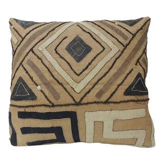 Vintage Tan and Black Raffia Appliqué Tribal Decorative Textured Finish Pillow For Sale