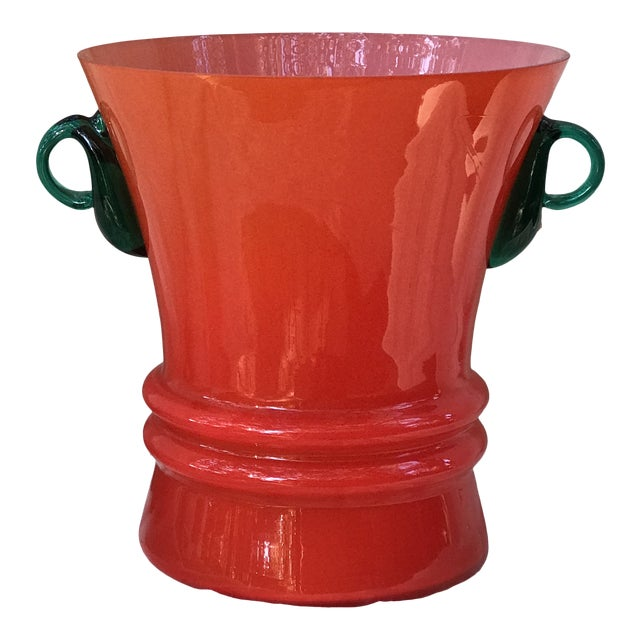 Late 20th Century Red Art Glass Wide Mouth Vase For Sale