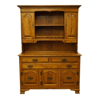"""Cushman Colonial Solid Hard Rock Maple 54"""" Buffet W. China Cabinet For Sale"""