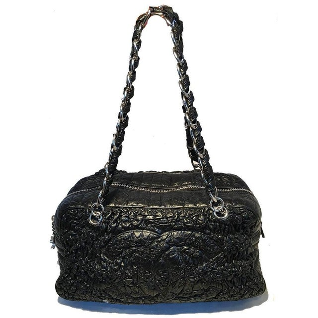 Chanel Black Quilted and Ruched Leather Shoulder Bag Shopping Tote For Sale In Philadelphia - Image 6 of 12
