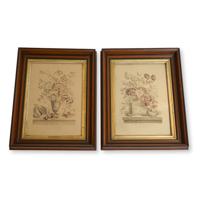 19th Century French Hand Colored Floral Etchings-A Pair For Sale - Image 12 of 12