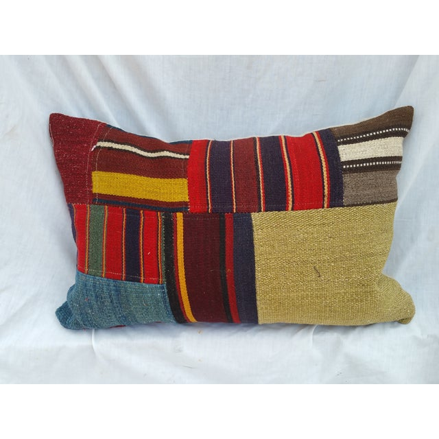 Turkish Earth Tone Patchwork Pillow - Image 2 of 5