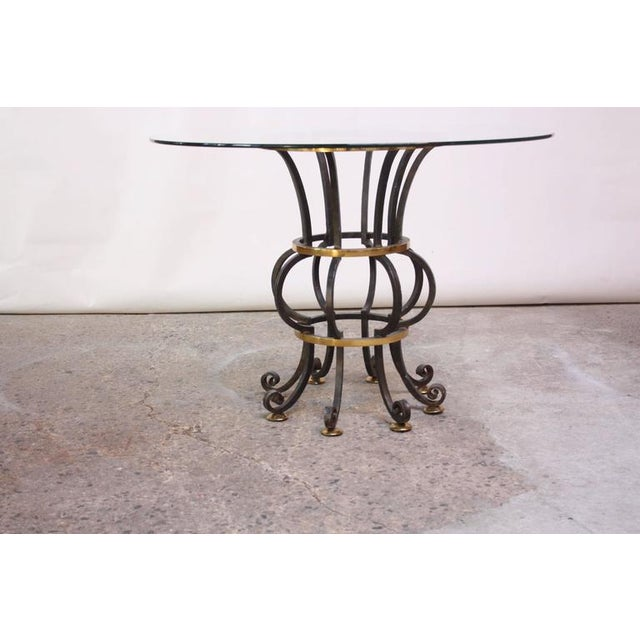 Hollywood Regency Style Brass and Steel Center Table after Maitland-Smith - Image 2 of 9