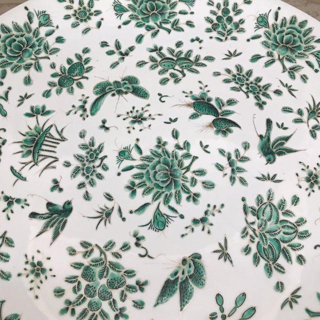 Asian Green & White Butterfly Charger For Sale - Image 3 of 5