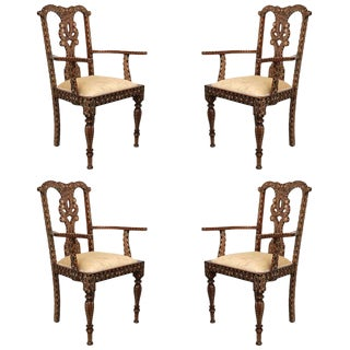 Rare Set of Four Anglo-Indian Hardwood and Bone Inlaid Armchairs For Sale