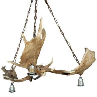 Elk Horn Three Light Chandelier For Sale