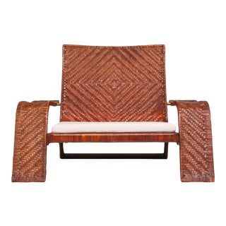 Postmodern Lounge Chair in Woven Leather by Marzio Cecchi For Sale