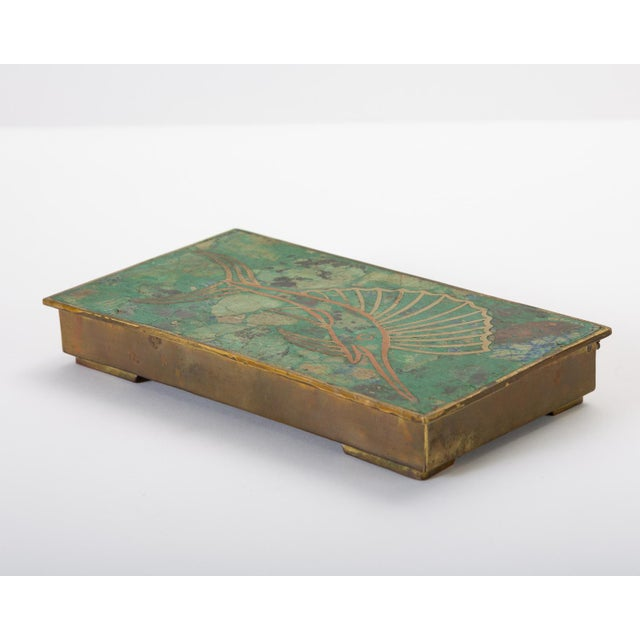 Green Mexican Brass Box With Resin Inlay Fish For Sale - Image 8 of 12