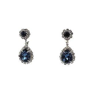 Late 1950s Signed Kramer Faux-Sapphire Drop Earrings For Sale