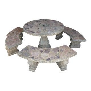 1980s Concrete Patio Set - 4 Pieces For Sale