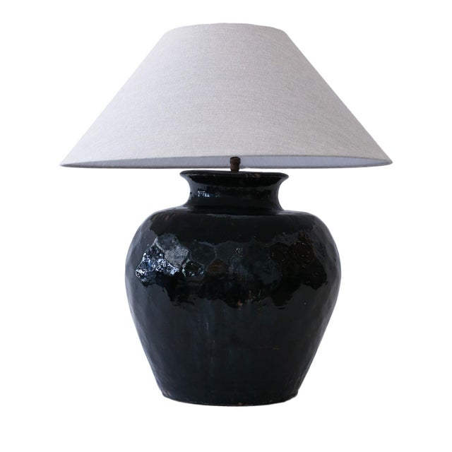 Ceramic Black Glazed Terracotta Table Lamp For Sale - Image 7 of 10