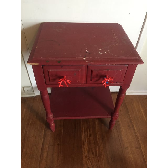 Distressed Maroon One Drawer Side Table - Image 3 of 7