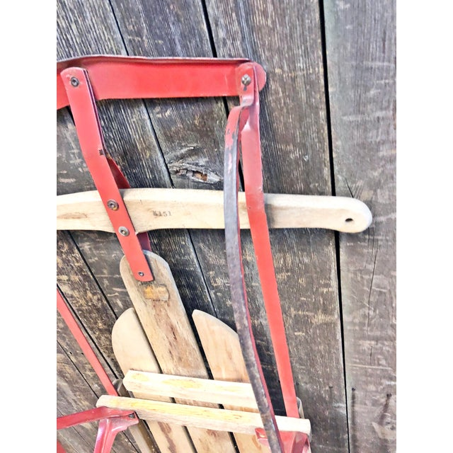 Vintage Weathered Wood & Metal Runner Sled -- Flexible Flyer For Sale - Image 10 of 12