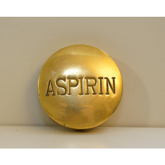 Mid 20th Century Vintage Aspirin Brass Pill Box For Sale - Image 5 of 5