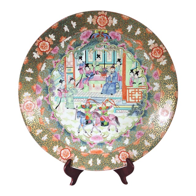 Blue Great Qianlong Rose Mandarin 'Chinese Warriors & Horses' Double Sided Charger/Plate For Sale - Image 8 of 9