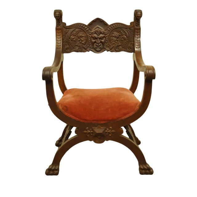 1920's Antique Jacobean Gothic Revival Carved Accent Arm Chair For Sale