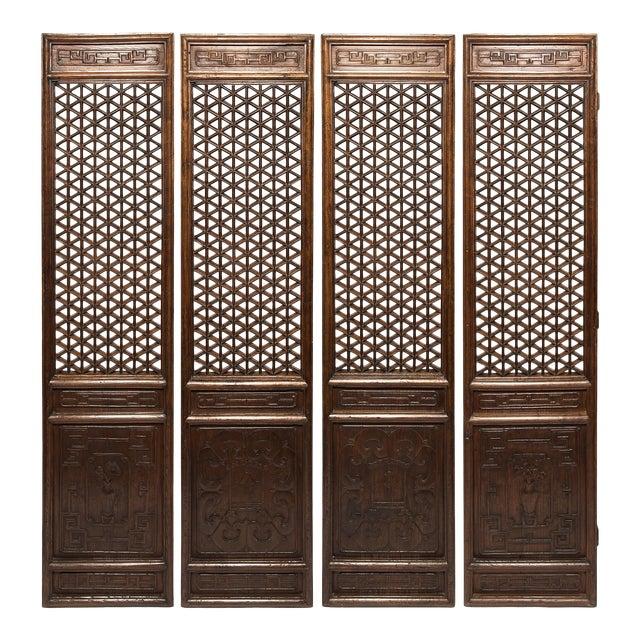 Set of 19th Century Chinese Four Treasure Lattice Panels For Sale
