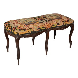 French Louis XV Style Tapestry Bench For Sale