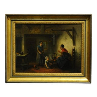 19th Century German Interior Scene Oil Painting by Jan Jac Matthys Damschroeder For Sale