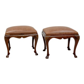 Early 20th Century Korean Leather Upholstered Stools - a Pair For Sale