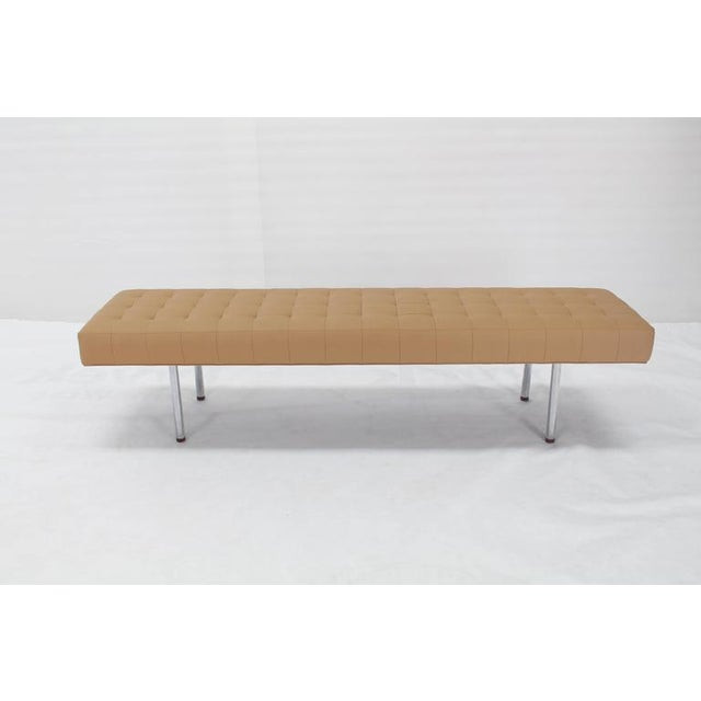 Mid-Century Modern daybed length tufted upholstery bench.