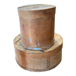 Mid 20th Century Round Wood Boxes - a Pair For Sale