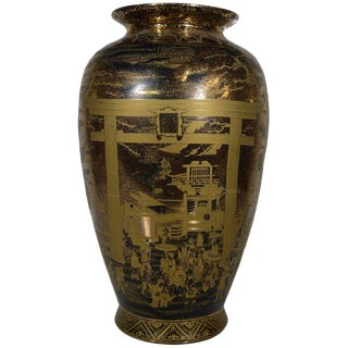 Vintage Hand-Painted Black Gilt Porcelain Vase from 1980s, China