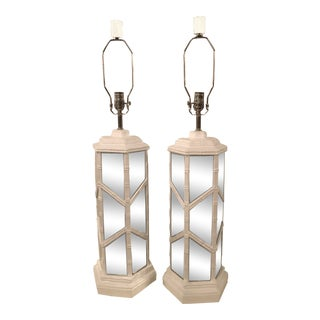 Vintage Chinese Chippendale Hollywood Regency White Lacquered Chrome Mirror Faux Bamboo Table Lamps -A Pair For Sale