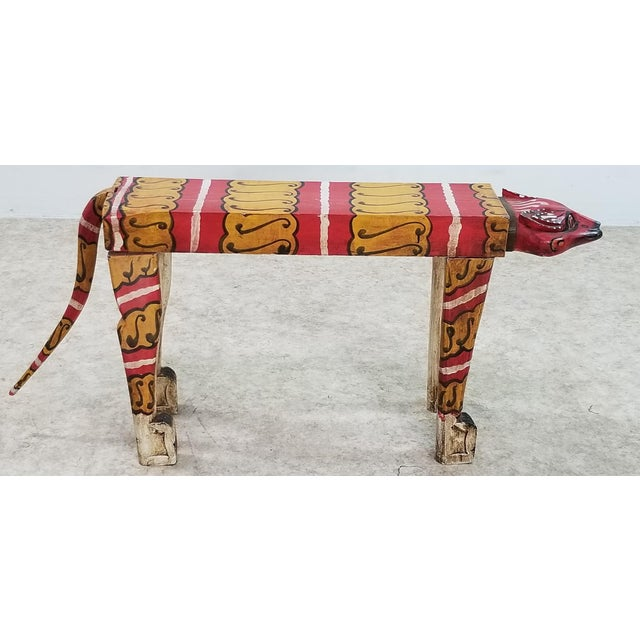 This is a 1950s Vintage Wood Carved Tiger Table Bench hand painting in excellent Condition and a very solid piece. It can...