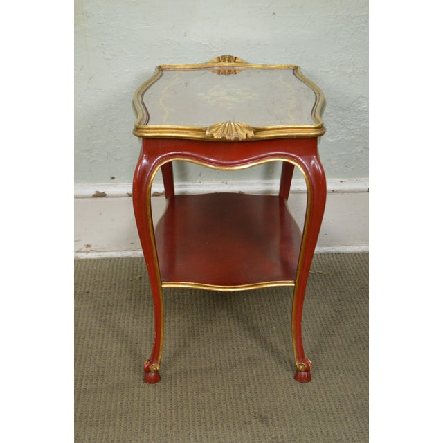 Rococo Hand Painted Partial Gilt Etagere 2 Tier Table - Image 3 of 11