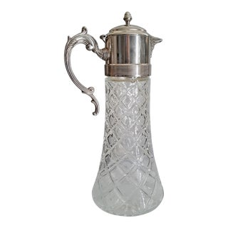Mid 20th Century Glass & Silver Plated Wine/Cocktail Pitcher With Ice Insert For Sale