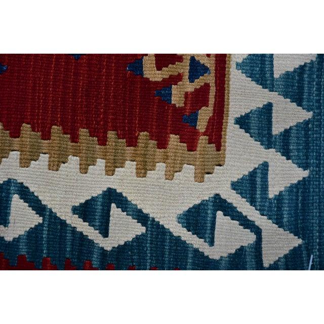 Ram's Horn Motif Design Turkish Anatolian Vintage Oushak Kilim Runner For Sale - Image 11 of 13
