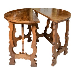 Antique French Walnut Demi Lune Tables- Pair For Sale